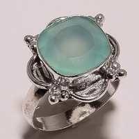 aqua chalcedony 12mm faceted cut stone ring