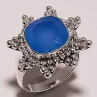 blue chalcedony 12mm faceted cut stone ring