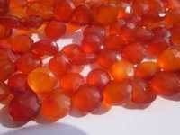 8 inch orange chalcedony faceted briolettes beads one strand 9mm-10mm