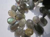 8 inch labradorite 9x13mm to 9x14mm faceted briolettes beads one strand