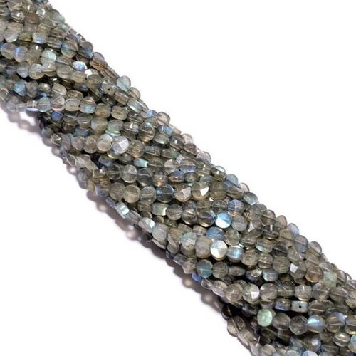 13 inch labradorite faceted coin 5mm-6mm beads single strand