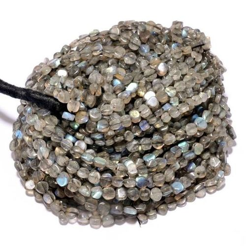 13 inch labradorite plain coin 5mm-6mm beads single strand