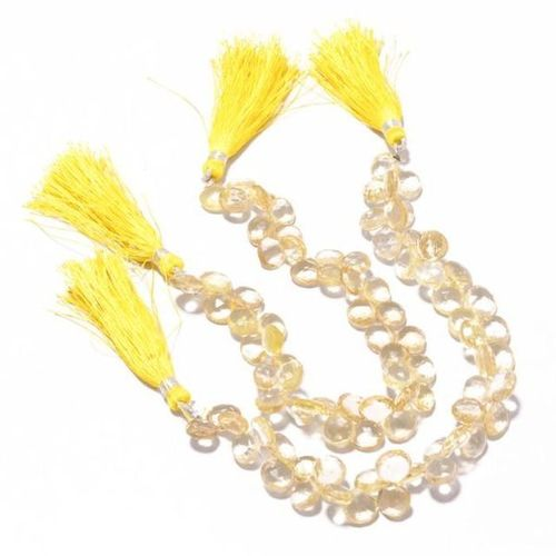 7 inch citrine quartz faceted onion shape beads single strand