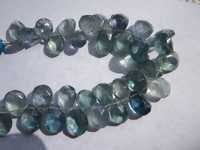7 inch green flourite 10x16mm to 8x12mm faceted briolettes beads one strand