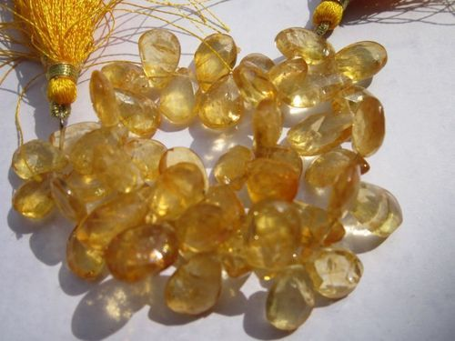 8 inch citrine 8x12mm faceted briolettes beads one strand
