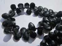 8 inch black onyx 8x11mm faceted briolettes beads one strand