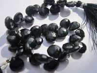 8 inch black onyx 10mm faceted briolettes beads one strand