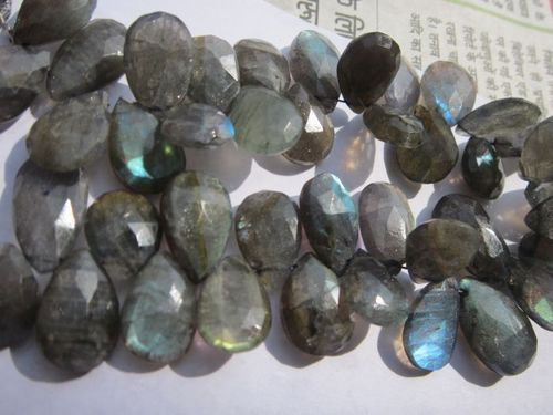8 inch labradorite 10x17mm to 10x16mm faceted briolettes beads one strand  220 cts