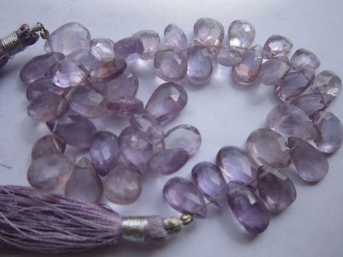 8 inch pink amethyst 7x10mm to 8x12mm faceted briolettes beads one strand