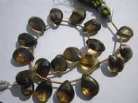 beer quartz faceted briolettes beads one strand   18 pcs 9x12mm to 10x13mm