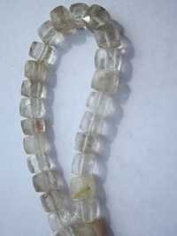 8 inch rutile quartz 7mm faceted box beads one strand