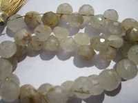 8 inch golden rutile  8.5mm faceted onion beads one strand