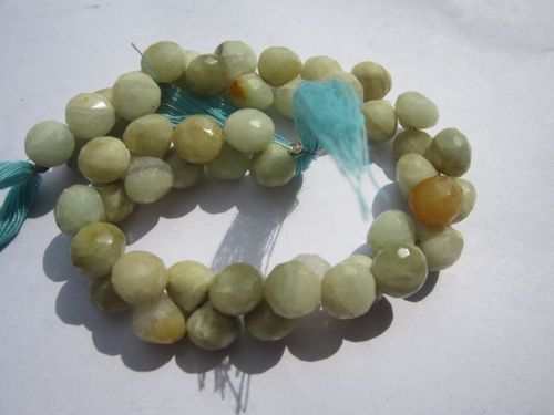 8 inch  aquamarine 8mm faceted onion beads one strand
