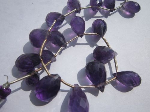 amethyst faceted drops beads one strand 18 pcs 7x12mm to 10x17mm