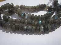 8 inch  labradorite 7mm faceted rondelle beads one strand