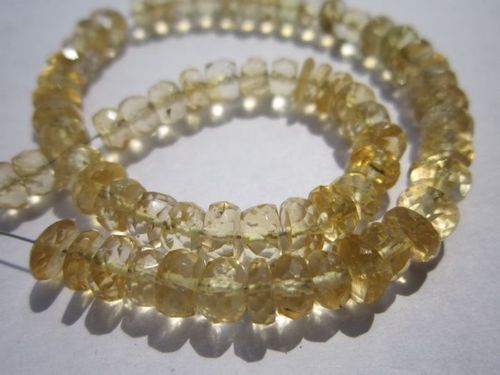 7 inch citrine 5-6mm faceted rondelle beads one strand