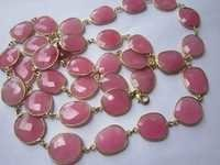 pink chalcedony irregular size connector chain 36 inch 34 pcs  267 cts