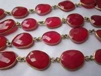 red chalcedony irregular size connector chain 26 inch 26 pcs  215cts