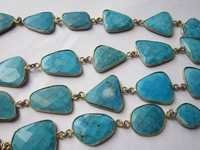 natural turquoise irregular size connector chain 40 inch 28 pcs  338cts