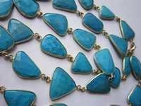 natural turquoise irregular size connector chain 36 inch 33 pcs  339cts