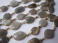 gray moonstone irregular size connector chain 30inch gold plated
