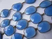 blue chalcedony irregular size connector chain 36 inch 33 pcs  320cts