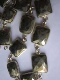 natural pyrite facete rectangle connectors chain 18 inch