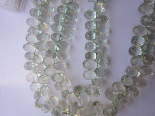 green amethyst faceted drops beads one strand 7 inch 5x10mm to 5x8mm