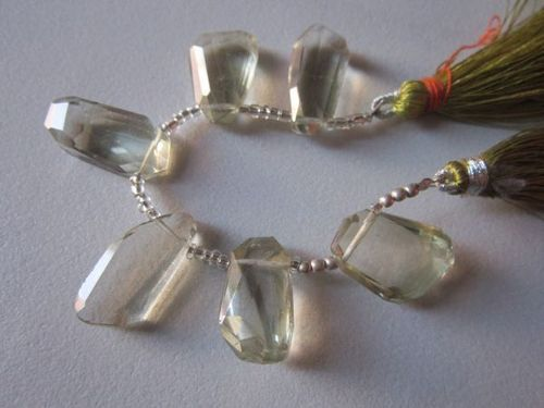 6 pcs. 13x20mm to 10x20mm to 11x22mmGreen amethyst nuggets shape faceted beads loose
