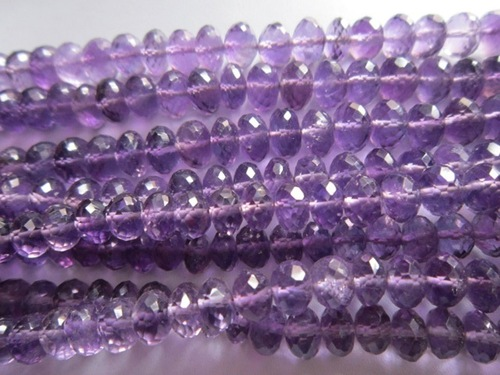 9 inch african amethyst  faceted roundell 6mm-8mm beads loose