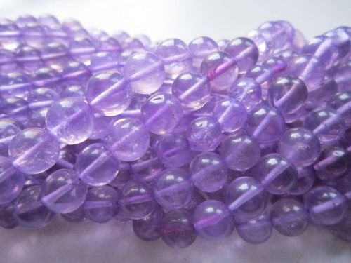 13 inch brazil amethyst plain round 6-8mm shape bead one strand