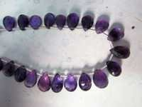 21PCS. AFRICAN AMETHYST 7X10MM ISRAIL CUTTING FACETED ALMOND GEMSTONE BEADS