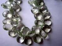 10x13mm to 9x12mm Green Amethyst Faceted Almond beads gemstone 7inch
