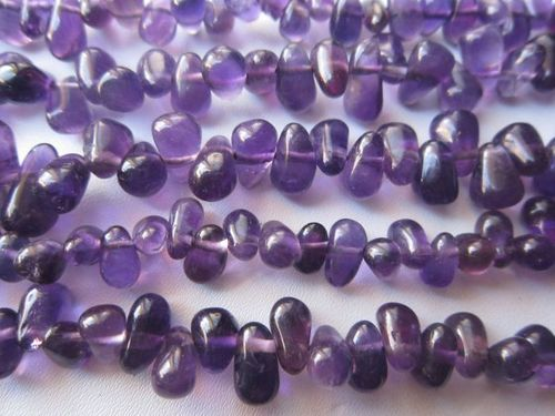 13 inch amethys 5x10mm to 5x8mm side dtill drop beads