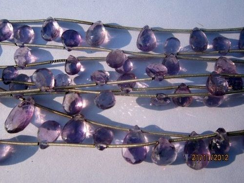 10 PCS. PINK AMETHYST 6X9MM -8X12MM FACETED ALMOND BEADS