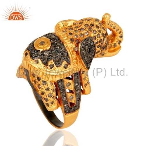 Sterling Silver Pave Diamond Gold Plated Ring