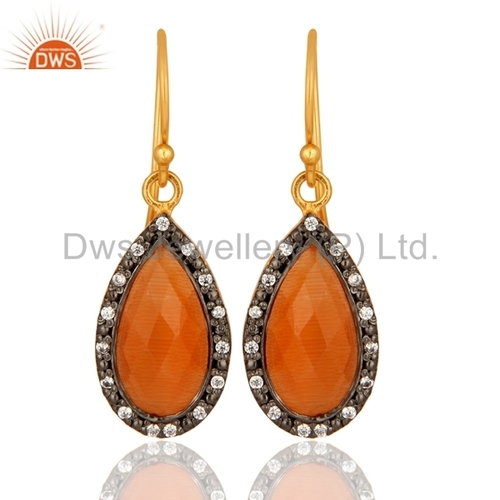 Zircon and Moonstone 925 Silver Drop Earrings