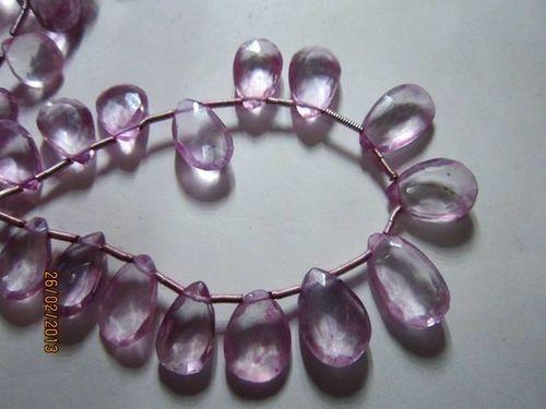 Pink amethyst Machine cut side drill Almond 7x10mm to 9x15mm beads 17 pcs
