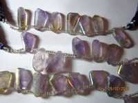 Bio amethyst coated step cut Tumble 10x19mm to 14x18mm 8 pcs beads