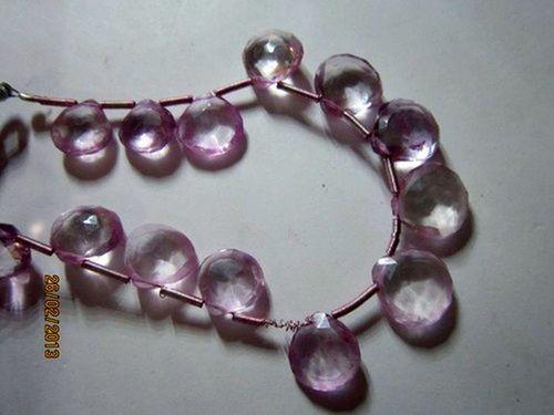 Pink amethyst Machine cut side drill briolettes 7mm-10mm beads 17 pcs