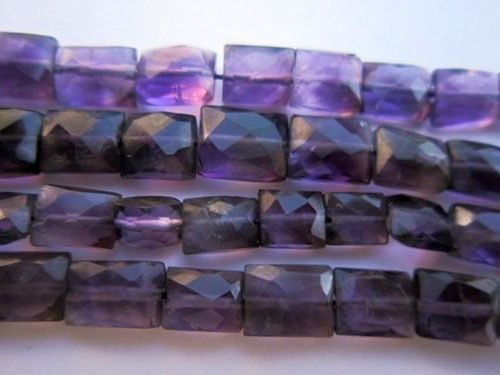13INCH AFRICAN AMETHYST 6X7MM TO 6X8MM FACETED CHIKLET SHAPE BEADS GEMSTONE