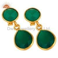 14k Gold Plated Sterling Silver Green Onyx Earrings
