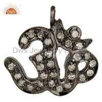 Silver Pave Diamond Om Charm Pendant