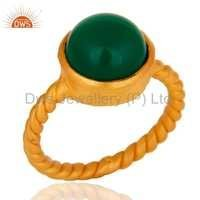Green Onyx Gold Plated Sterling Silver Ring