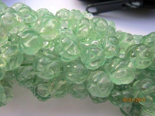 8 inch Green Amethyst 5mm-7mm carved round beads Gemstone