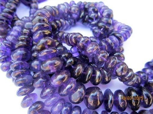 13 INCH AFRICAN AMETHYST 8MM-10MM ROUNDELL BEADS GEMSTONE