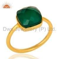 Gold Plated Sterling Silver Green Onyx Ring