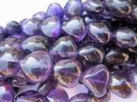 7 INCH AFRICAN AMETHYST 10MM-14MM PLAIN BIG SIZE HEART SHAPE BEADS GEMSTONE
