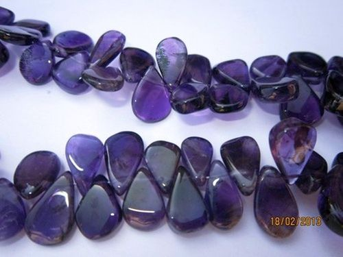 13 INCH AFRICAN AMETHYST 6X9MM TO 7X10MM FLAT PEAR BEADS GEMSTONE
