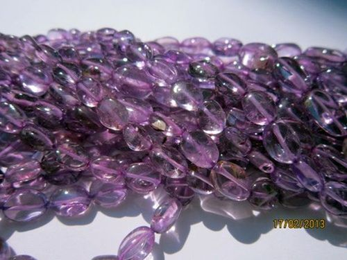 13 INCH PINK AMETHYST 7X9MM TO 6X8MM PLAIN OVAL BEADS GEMSTONE